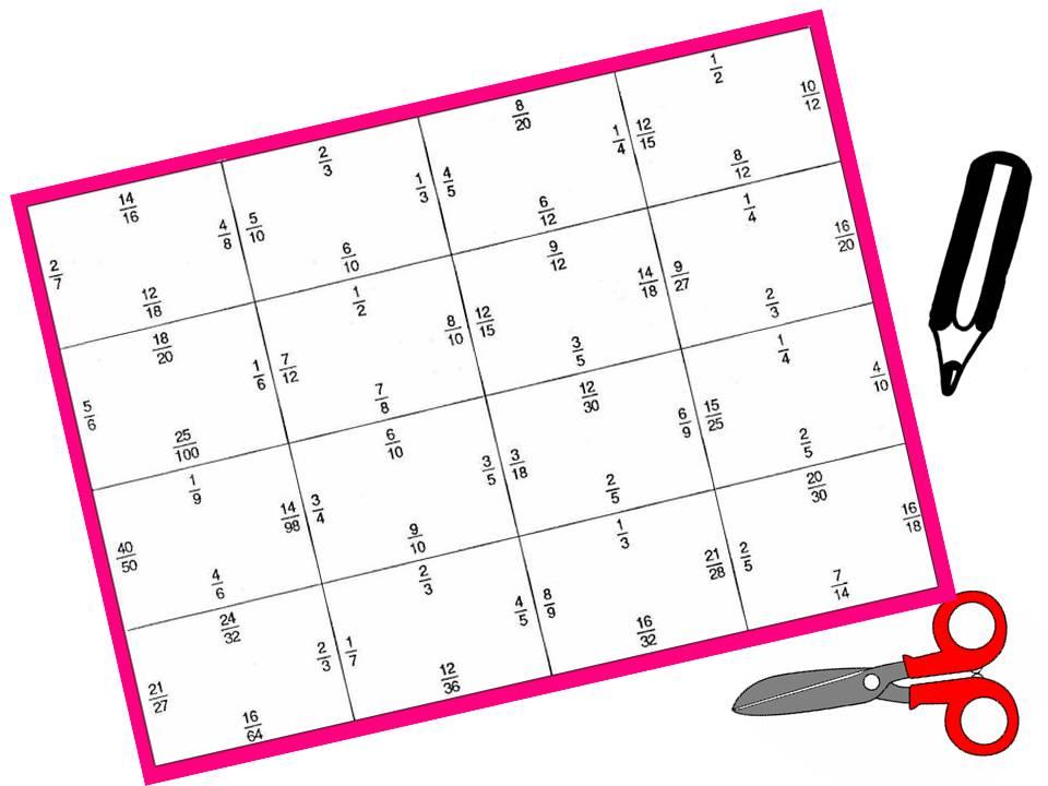 PUZZLE BLANCO DE FRACCIONES EQUIVALENTES: Nivel 2   Juegos y matemáticas