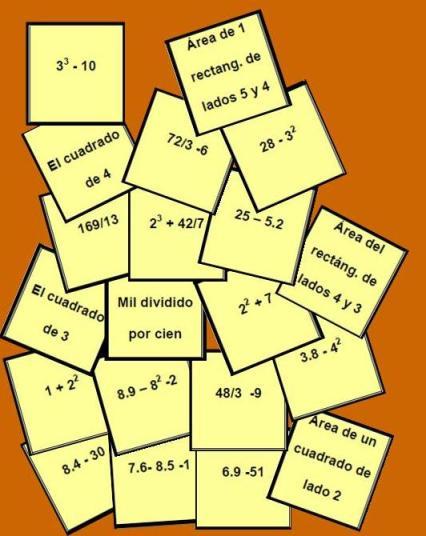 tarjetas del Bingo matemático de motivacion para Primero de ESO