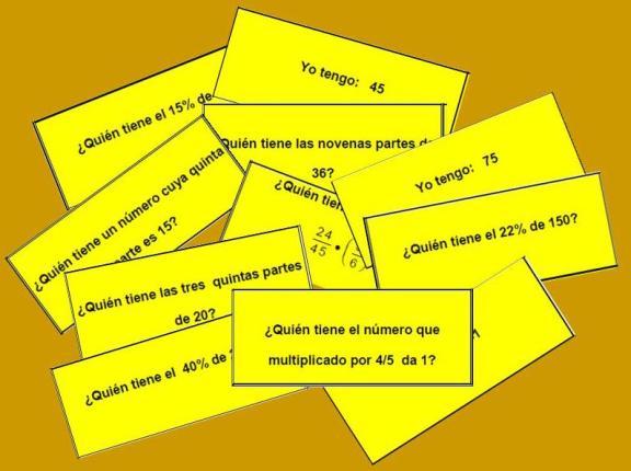Tarjetas de la cadena de porcentajes y operaciones con fracciones