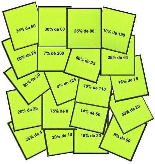 Tarjetas del Bingo de porcentajes