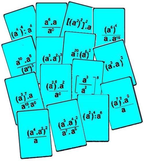tarjetas del Bingo matemático de potencias con exponentes naturales