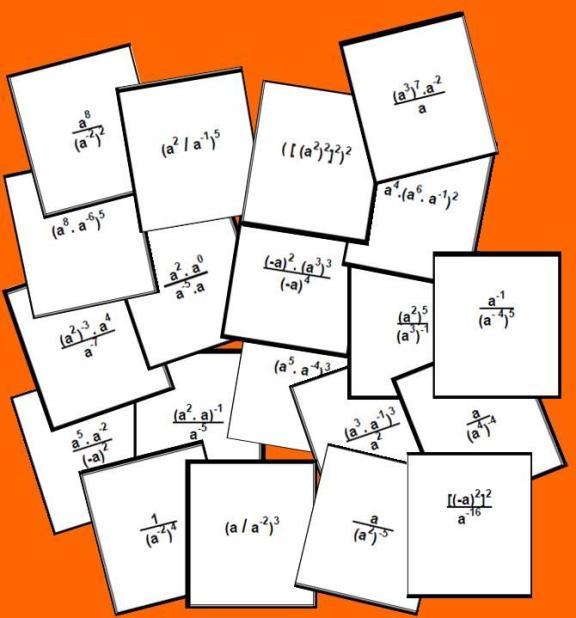 tarjetas del Bingo matematico de potencias con exponentes enteros.