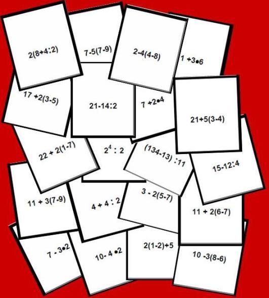 tarjetas del Bingo matematico de jerarquia de nivel 1