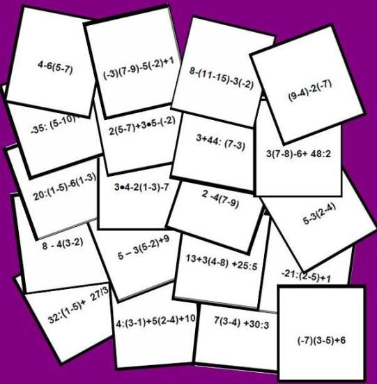 imagen tarjetas del bingo matemático de jerarquía