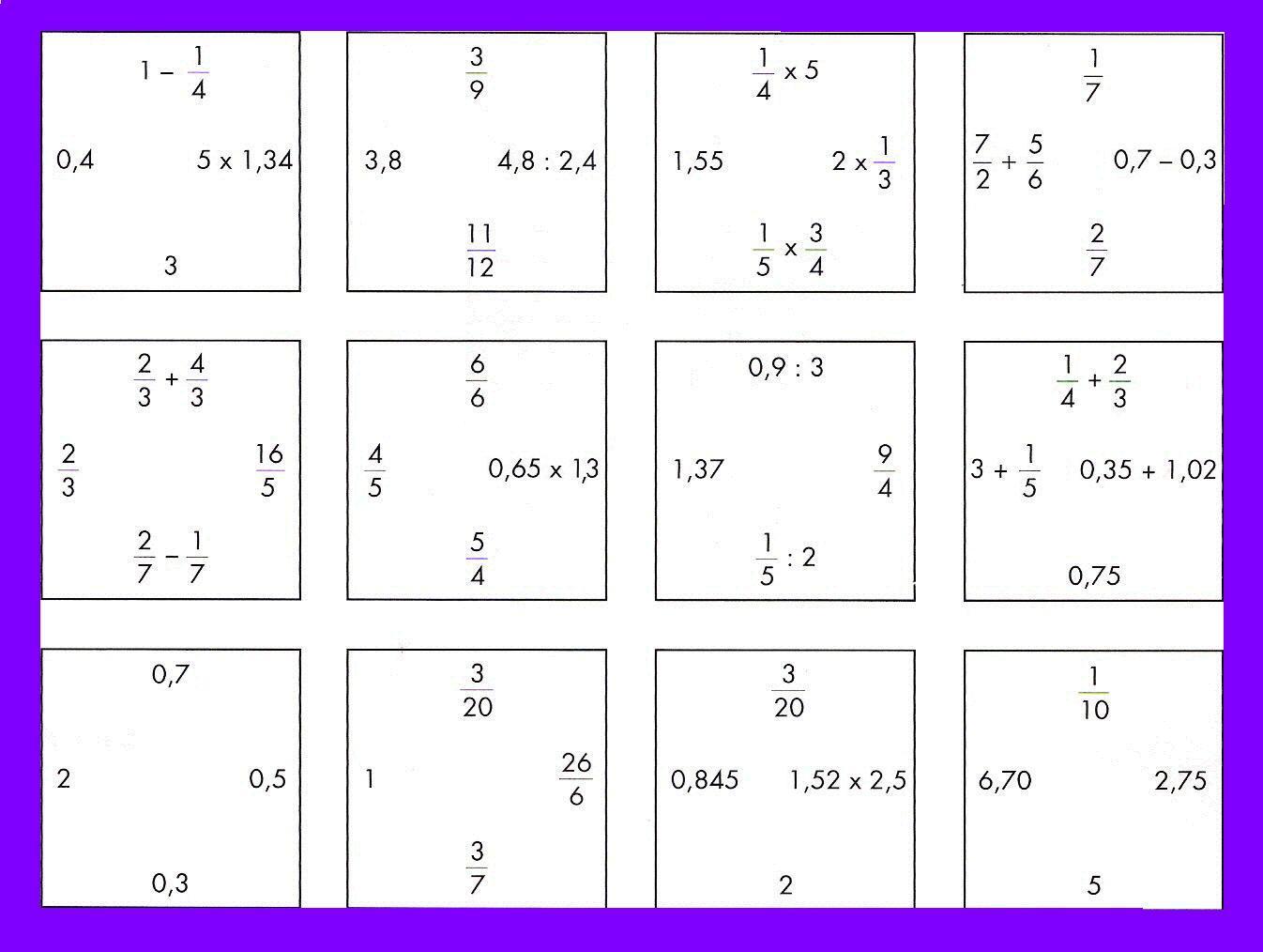PUZZLE DE FRACCIONES Y DECIMALES (Nivel Inicial) | Juegos y matemáticas