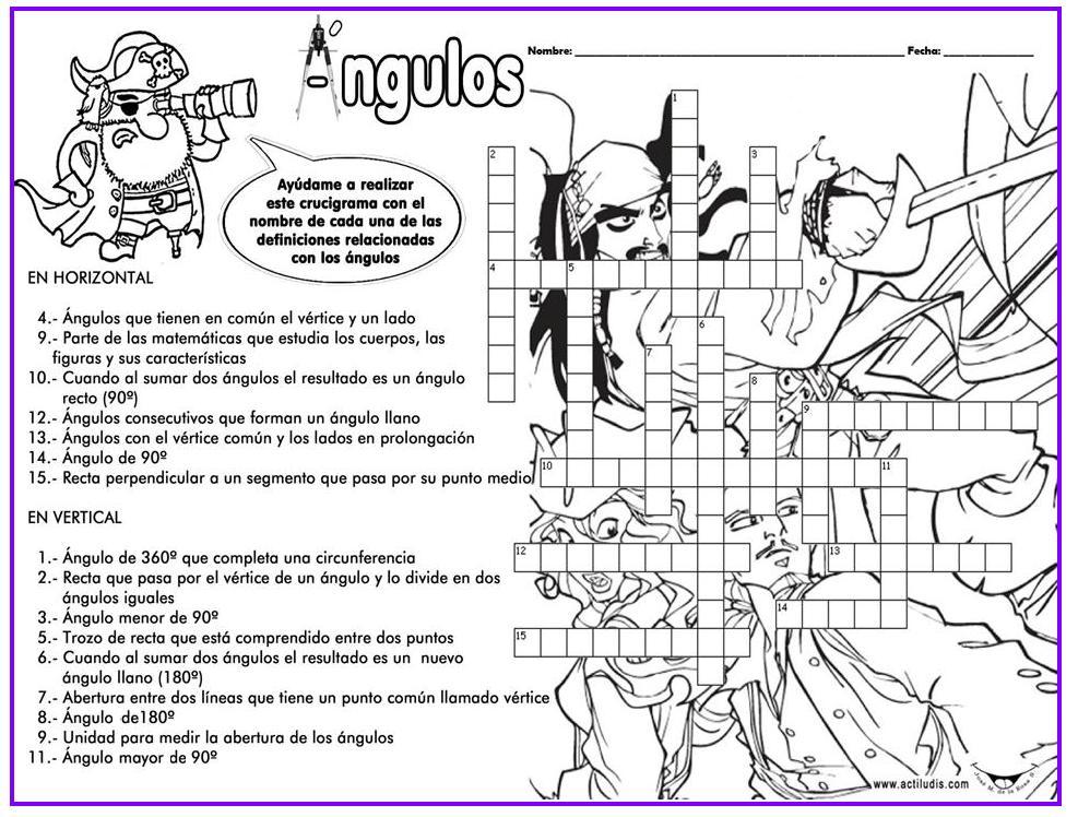 Crucigrama De Angulos Juegos Y Matematicas