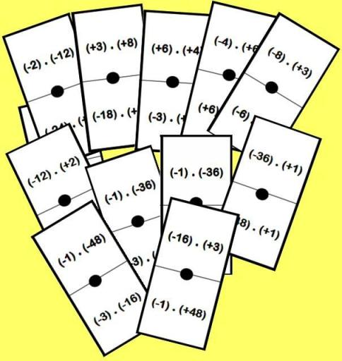 fichas del domino de producto con enteros: la regla de los signos