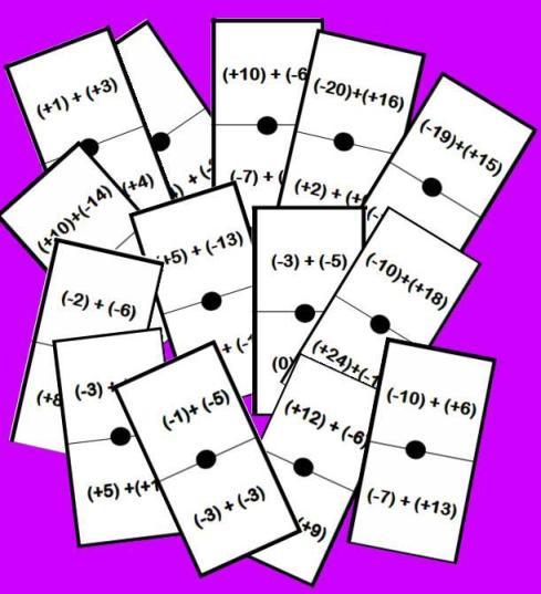 fichas del domino de suma con enteros