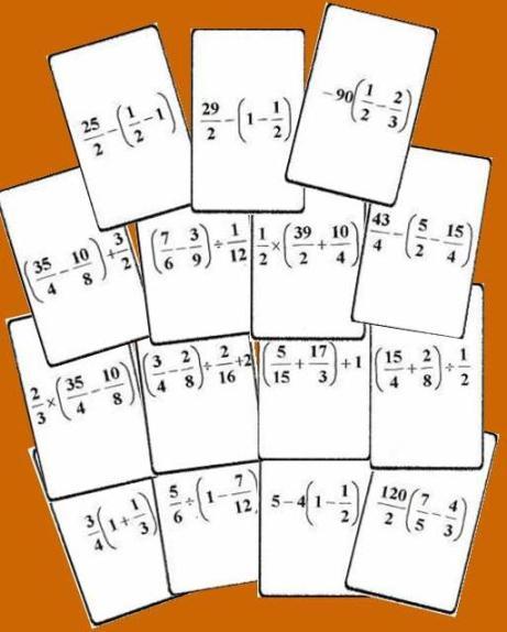 tarjetas del Bingo matematico de operaciones con fracciones