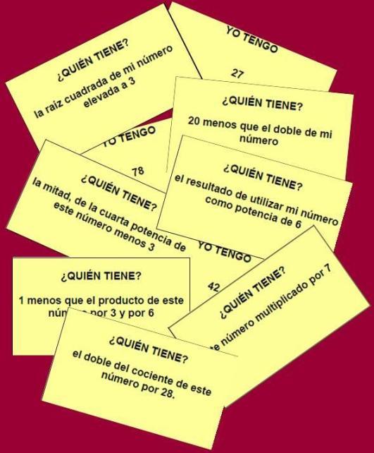 tarjetas de la cadena de calculo mental