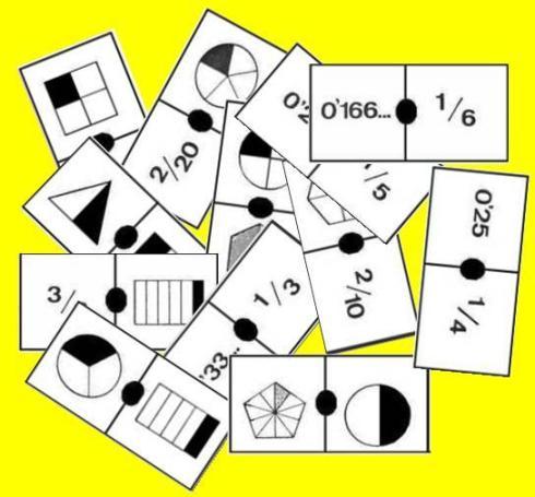 Fichas del domino de fracciones-partesde-decimal