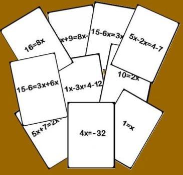 Cartas de la baraja de pasos de una ecuación