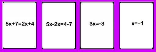 Los cuatro pasos para resolver una ecuación de primer grado sencilla
