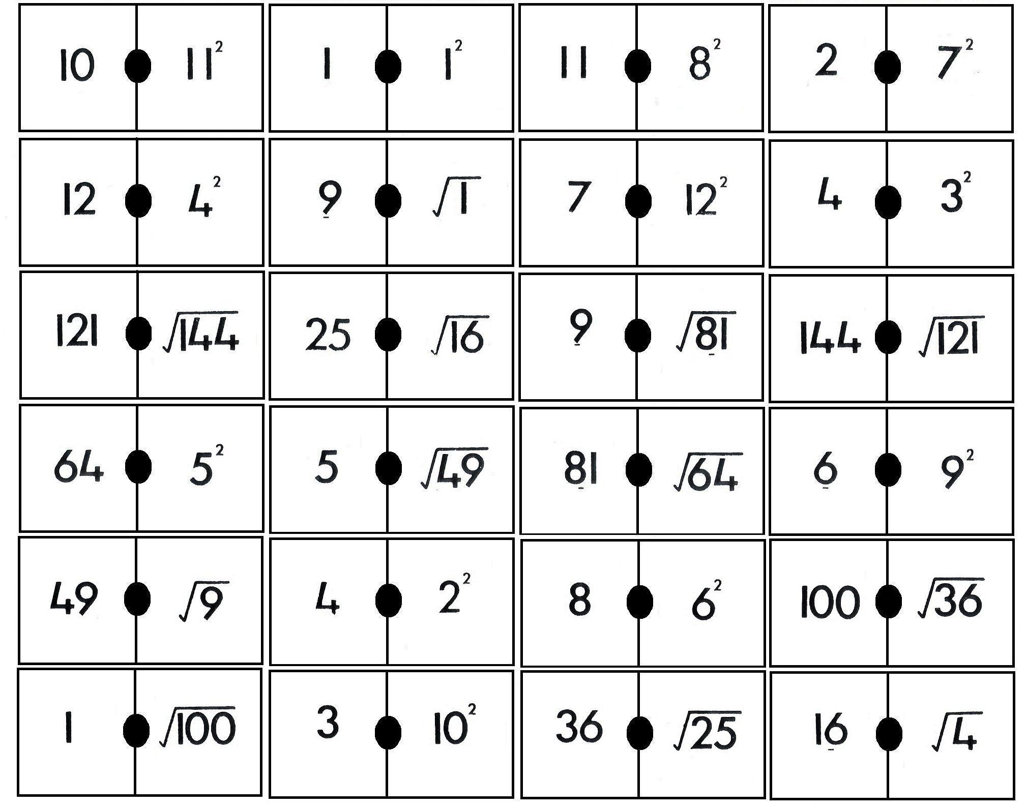 Domino De Cuadrados Y Raices Juegos Y Matematicas