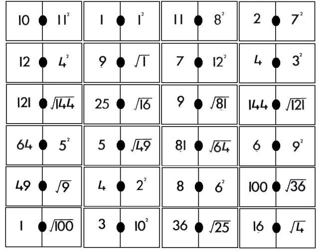 domino de cuadrados y raices