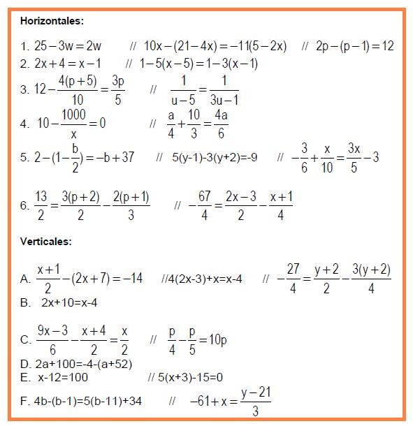 Aqu   La Actividad Para El Alumnado  Crucigrama Algebraico Alumnos