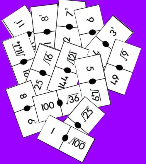 imagen de las fichas del dominó de raices y cuadrados