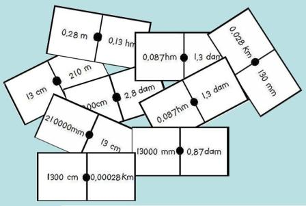 ejemplo fichas del dominó de longitudes