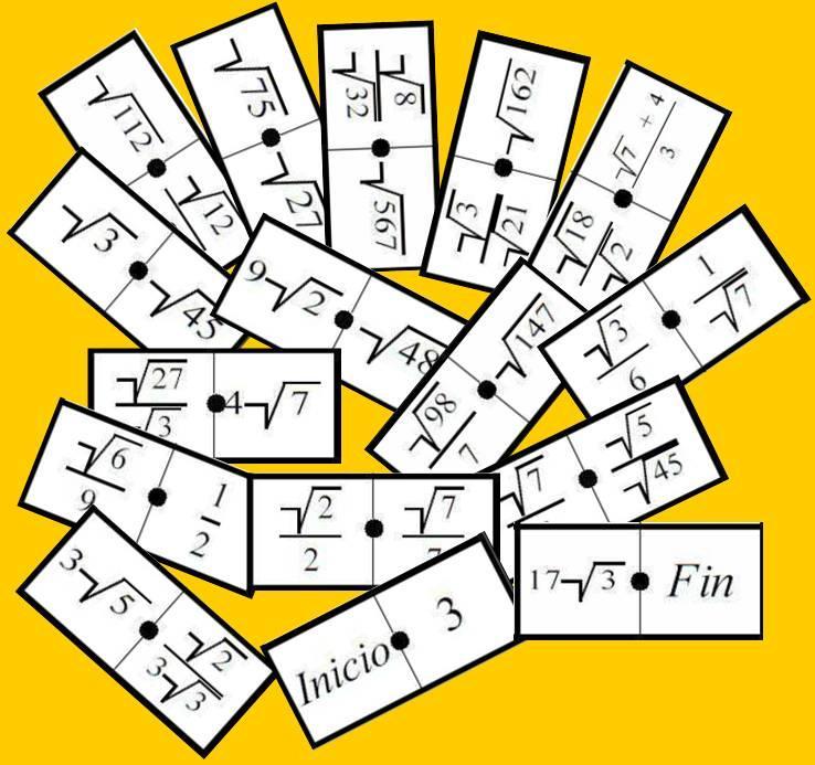 Cadena De Dominos De Radicales Nivel I Juegos Y Matematicas