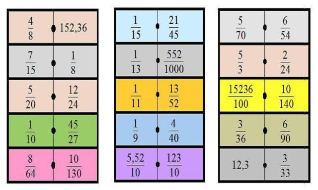 Cadena de 15 dominos fracciones equivalentes