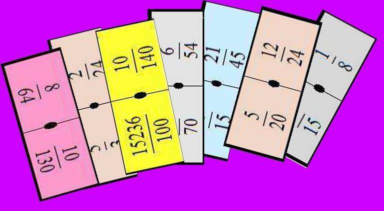 CADENAS CORTAS DE DOMINÓS DE FRACCIONES | Juegos y matemáticas