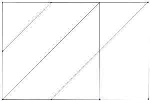Puzzle tangram seis piezas cuadriculado