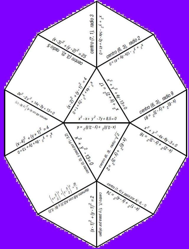 Ouzzle ecuaciones circunferencias solucion